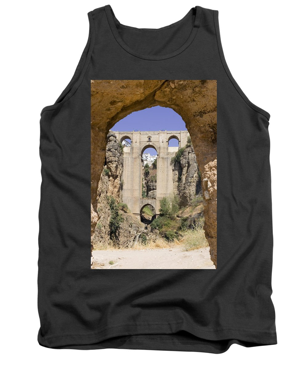 Ronda Tank Top featuring the photograph The Tajo De Ronda And Puente Nuevo Bridge Andalucia Spain Europe by Mal Bray