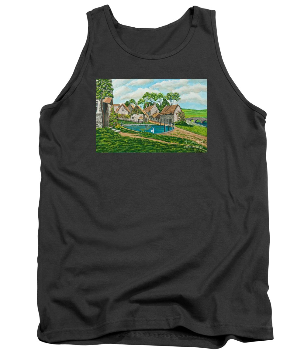 English Painting Tank Top featuring the painting The Village Pond In Wroxton by Charlotte Blanchard