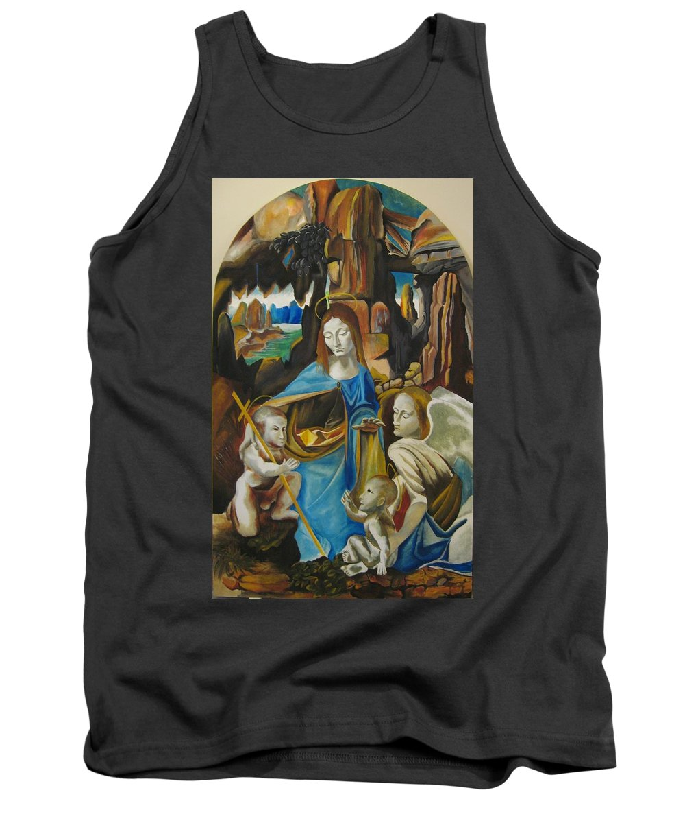 Tank Top featuring the painting The Virgin Of The Rocks by Ronnie Lee