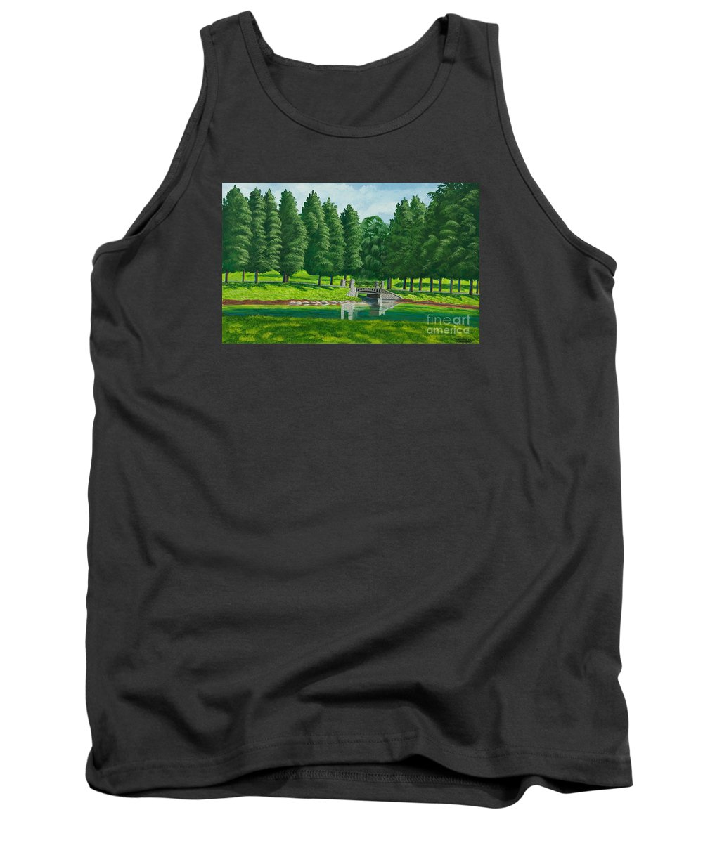 Colgate University Taylor Lake Tank Top featuring the painting The Willow Path by Charlotte Blanchard