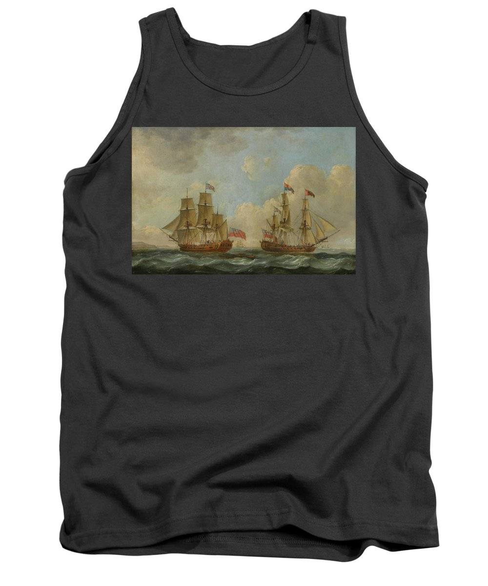 John Cleveley The Elder 1712 - 1777 The Yacht Royal Charlotte In Two Positions Off The Coast Tank Top featuring the painting The Yacht Royal Charlotte by John Cleveley