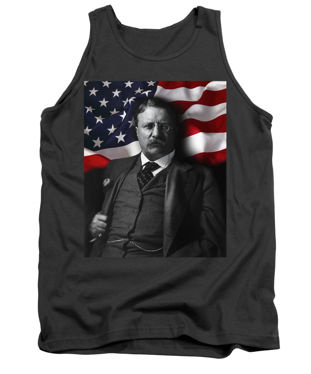 teddy Roosevelt Tank Top featuring the digital art Theodore Roosevelt 26th President Of The United States by Daniel Hagerman