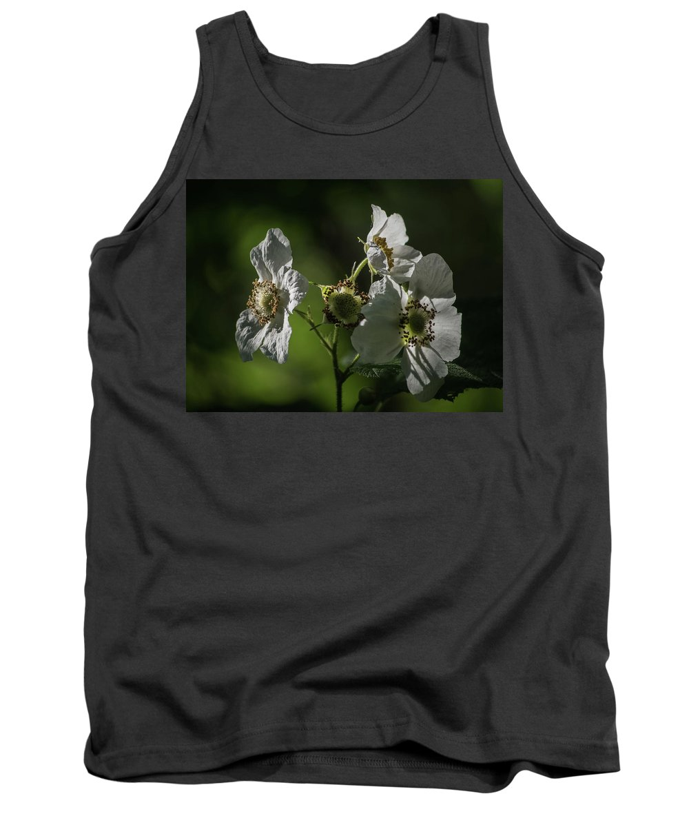 Thimbleberry Tank Top featuring the photograph Thimbleberry Blossoms by Tim Beebe