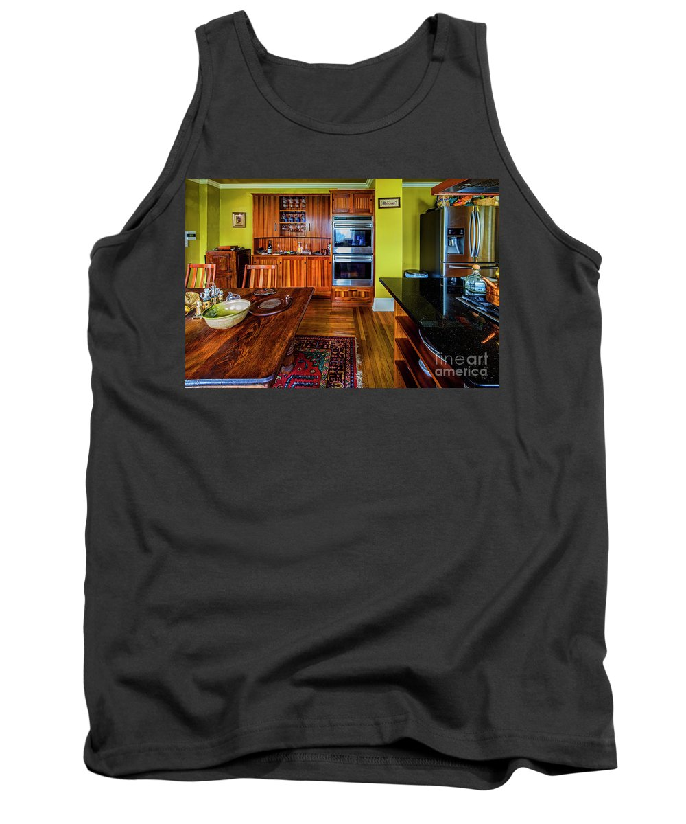 Architectural Interior Photography Tank Top featuring the photograph Thomas Kitchen With Old Fashioned Icebox And Refrigerator by Doug Berry