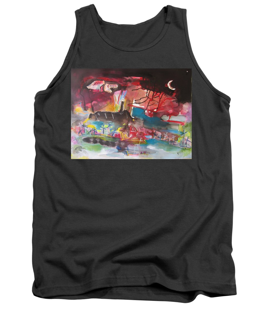 Original Tank Top featuring the painting Three Arms10 Original Abstract Colorful Landscape Painting For Sale Red Blue Green by Seon-Jeong Kim