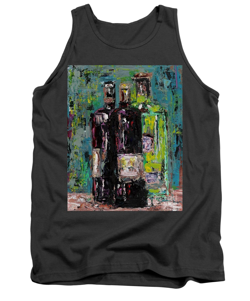 Wine Tank Top featuring the painting Three Bottles Of Wine by Frances Marino
