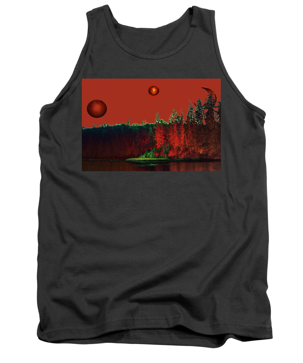 Red Planet Tank Top featuring the photograph Three Moons by Andrea Lawrence