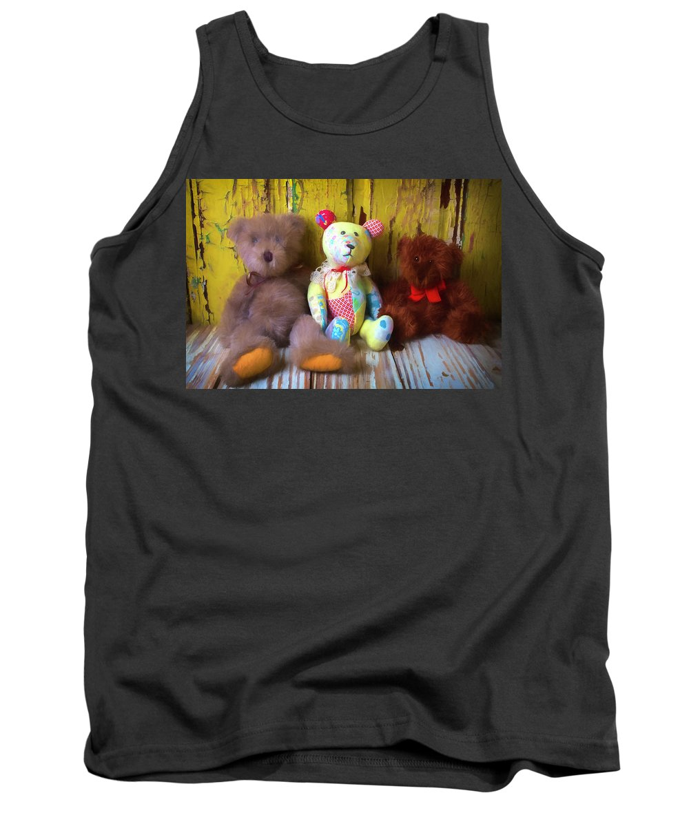 Teddy Bear Tank Top featuring the photograph Three Special Bears by Garry Gay