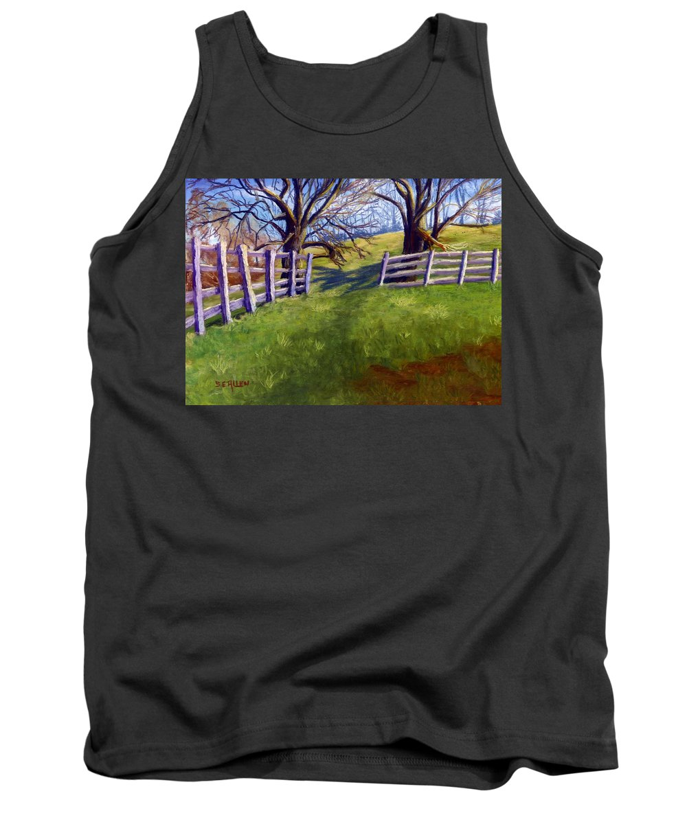 Pasture Tank Top featuring the painting Throught The Pasture Gate by Sharon E Allen