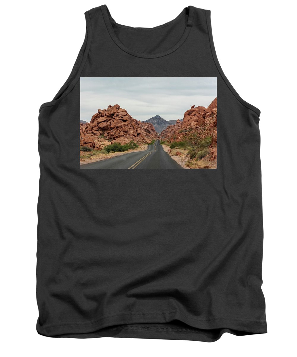 The Valley Of Fire Tank Top featuring the photograph Thunder Road by Bob Cuthbert