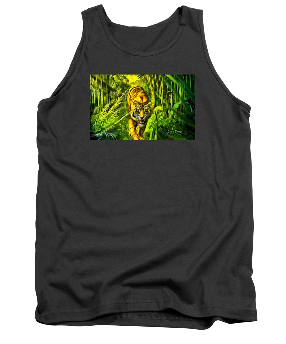 Affect Tank Top featuring the painting Tiger In The Forest by Leonardo Digenio