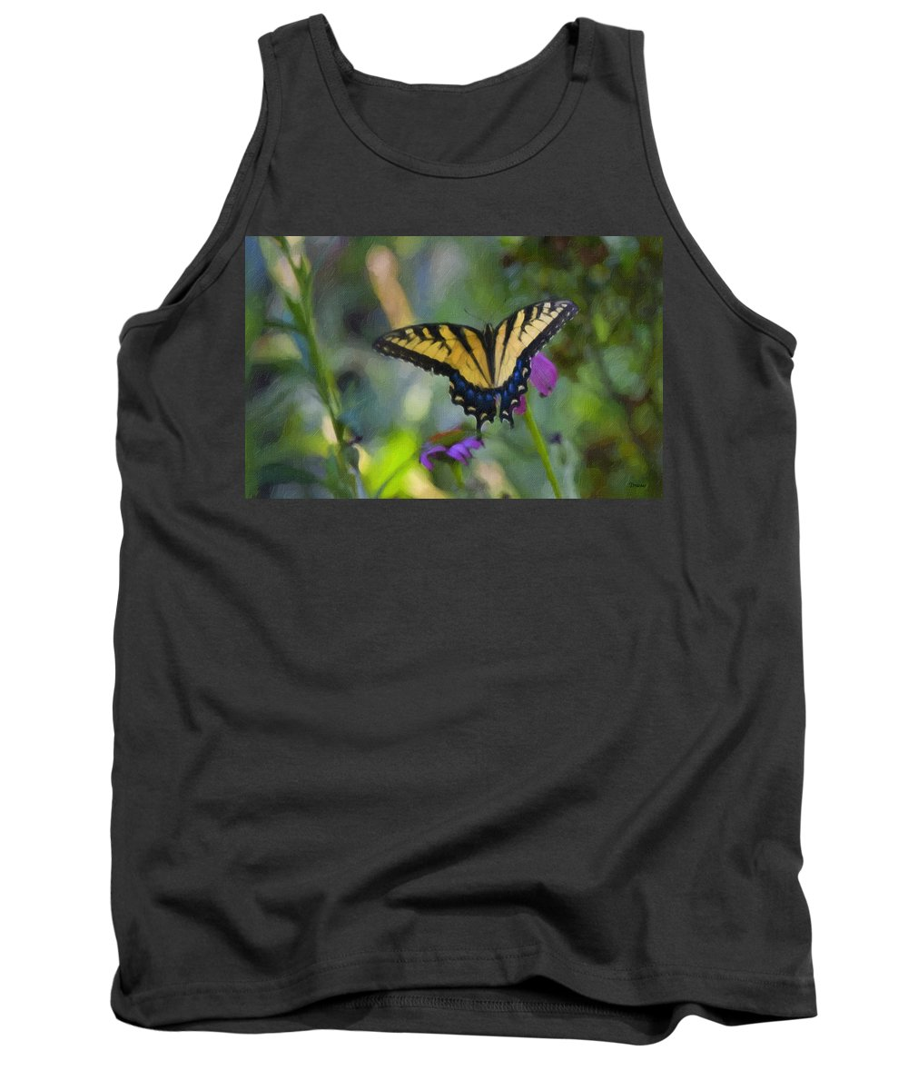 Tiger Tank Top featuring the painting Tiger Swallowtail Painting by Teresa Mucha