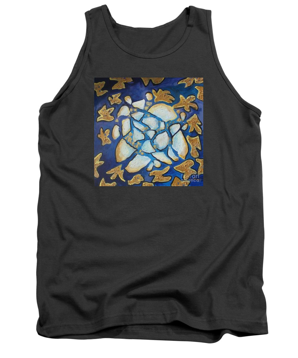Abstract Tank Top featuring the painting Tikkun Olam Heal The World by Laurie Morgan