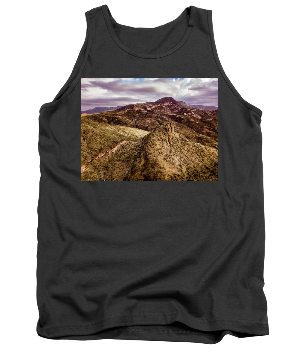 Drone Photography Tank Top featuring the photograph Tilt-shift Mountain Peak by David Stevens