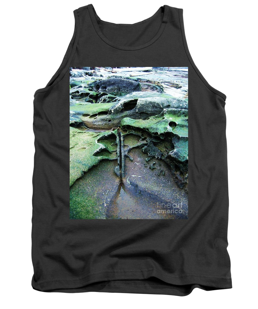 Photograph Rock Beach Ocean Tank Top featuring the photograph Time Washed Out by Seon-Jeong Kim