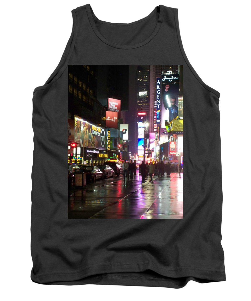 Times Square Tank Top featuring the photograph Times Square In The Rain 1 by Anita Burgermeister