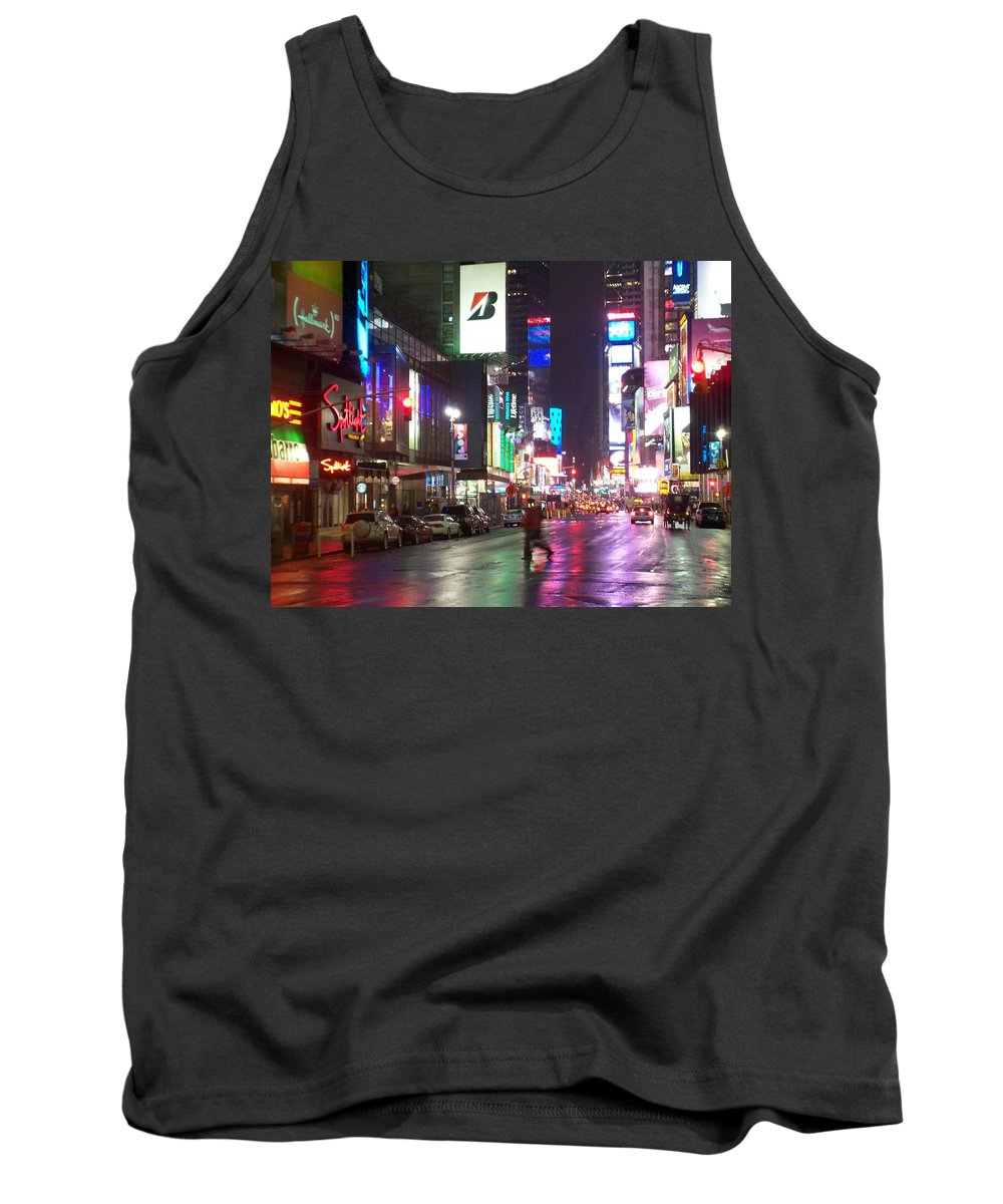 Times Square Tank Top featuring the photograph Times Square In The Rain 2 by Anita Burgermeister