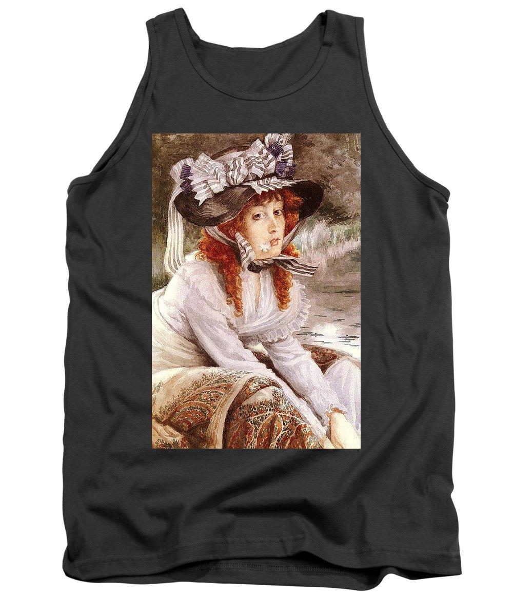 Costume Tank Top featuring the digital art Tissot James Jacques Joseph On The River Jacques Joseph Tissot by Eloisa Mannion