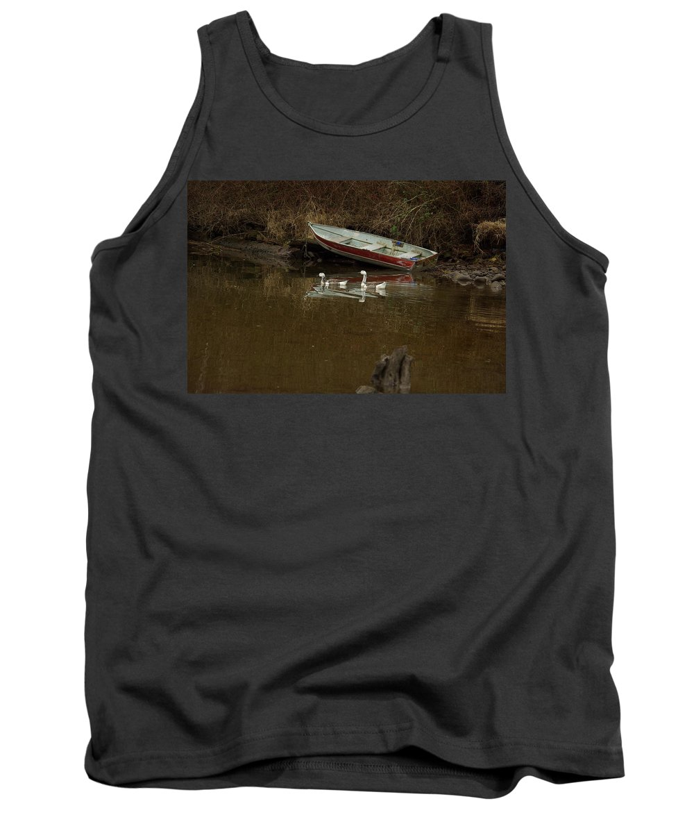 Geese Tank Top featuring the photograph To Float Or Not To Float by Cindy Johnston