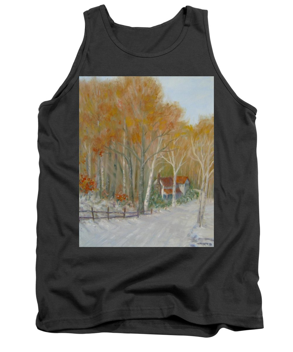 Country Road; House; Snow Tank Top featuring the painting To Grandma's House by Ben Kiger
