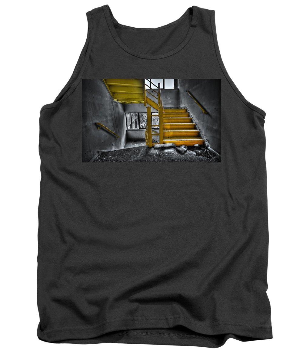 Stair Tank Top featuring the photograph To The Higher Ground by Evelina Kremsdorf