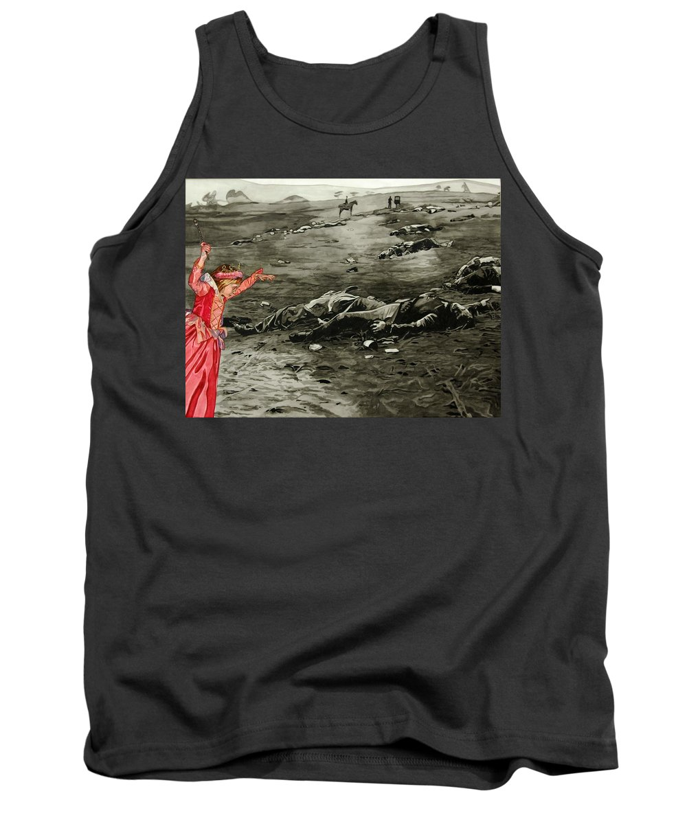 War Tank Top featuring the painting Too Late by Valerie Patterson