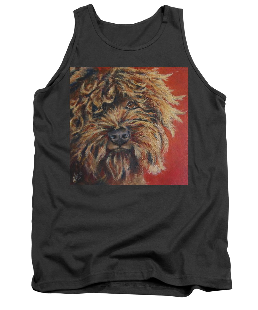 Dog Tank Top featuring the painting Toots by Julie Dalton Gourgues