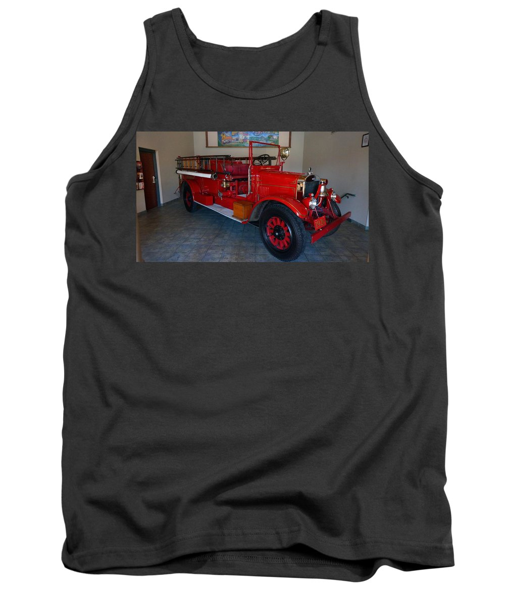 Vintage Fire Engine Tank Top featuring the photograph Top O' The Line Back When by Tim G Ross