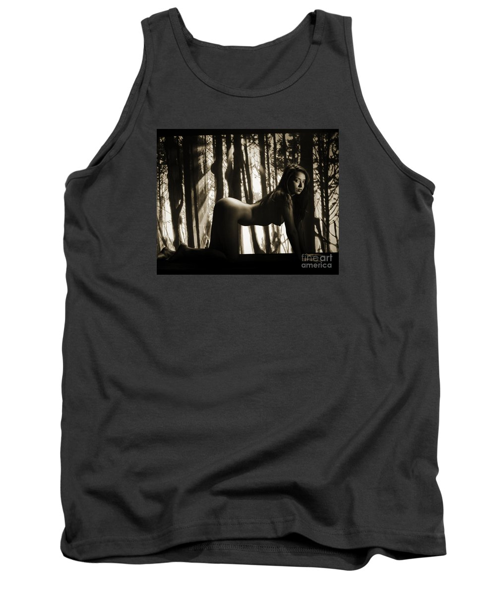 Toriwaits Tank Top featuring the photograph Toriwaits Nude Fine Art Print Photograph In Black And White 5098 by Kendree Miller