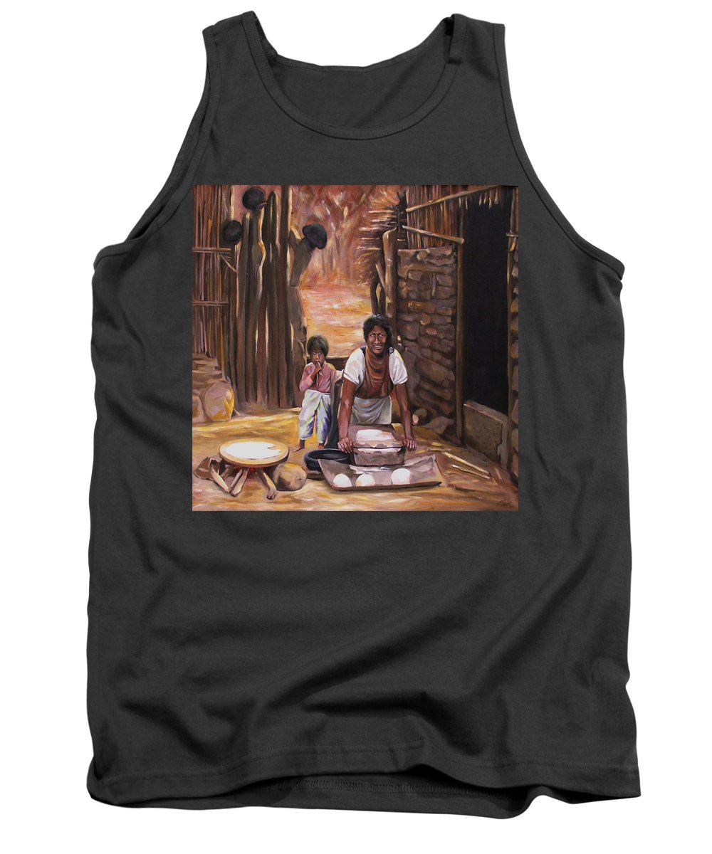 Mexican Tank Top featuring the painting Tortillas De Madre by Nancy Griswold