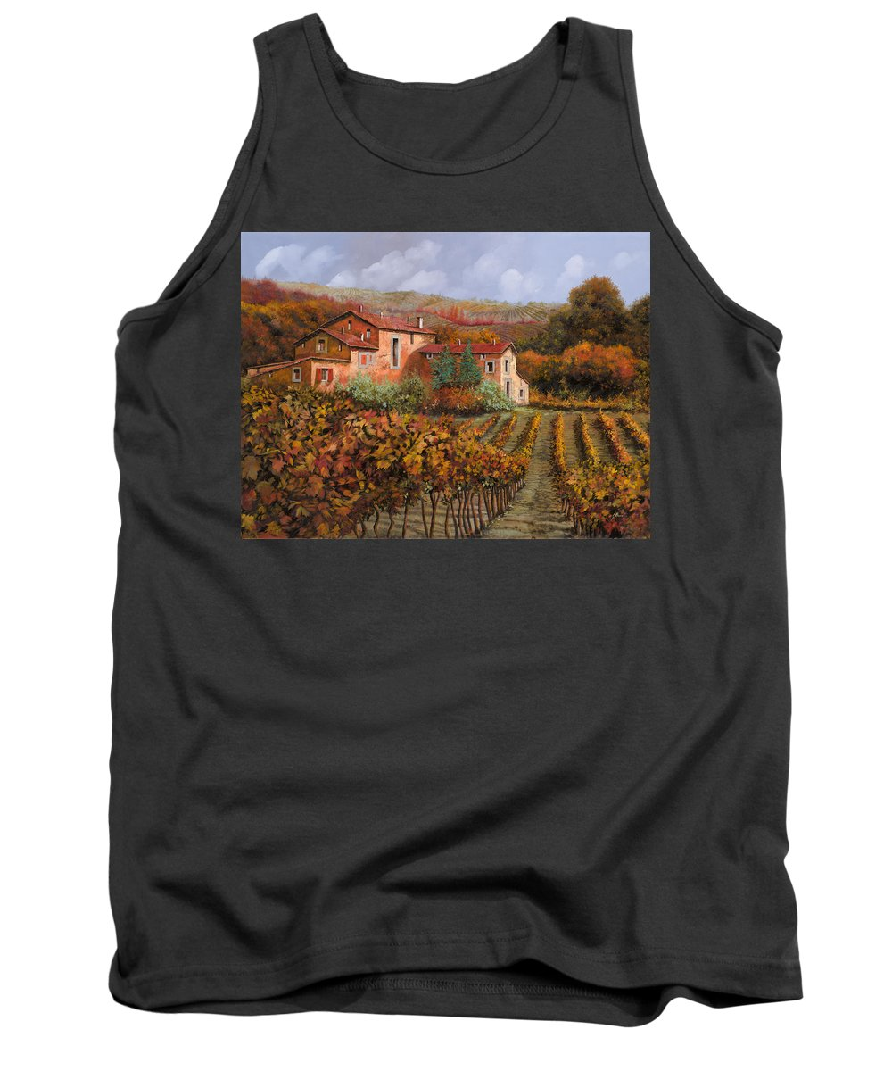 Wine Tank Top featuring the painting tra le vigne a Montalcino by Guido Borelli
