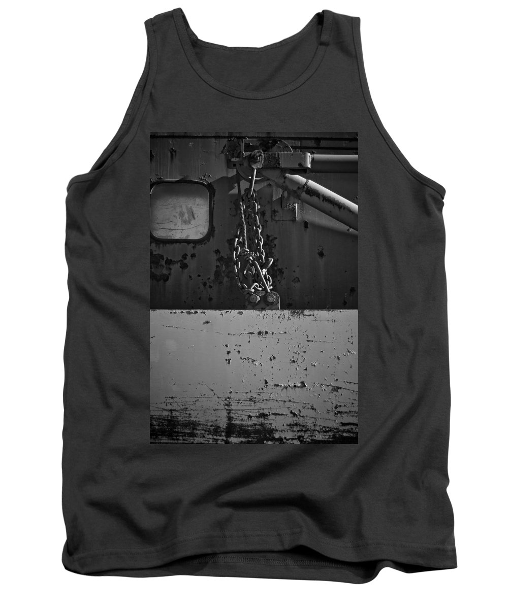 Black And White Photograph Tank Top featuring the photograph Track Plow Swing by Mike Oistad