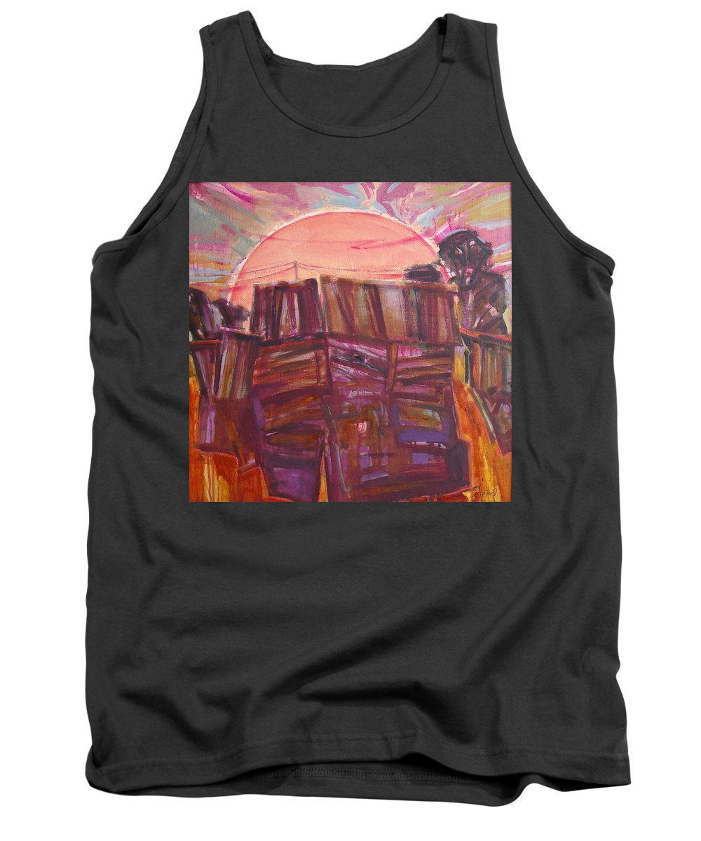 Oil Tank Top featuring the painting Tracks by Sergey Ignatenko