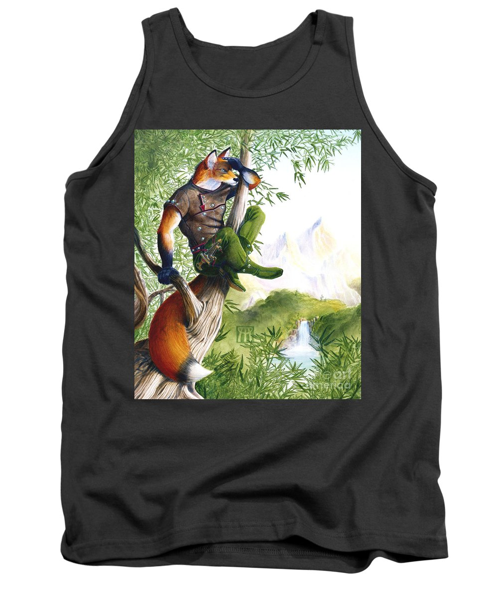 Fantasy Tank Top featuring the painting Trail Blazing Fox by Melissa A Benson