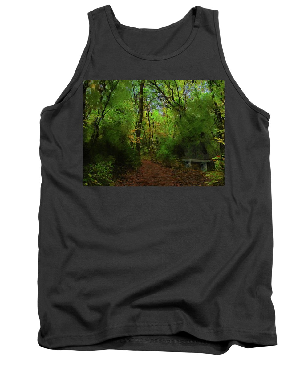 Cedric Hampton Tank Top featuring the photograph Trailside Bench by Cedric Hampton