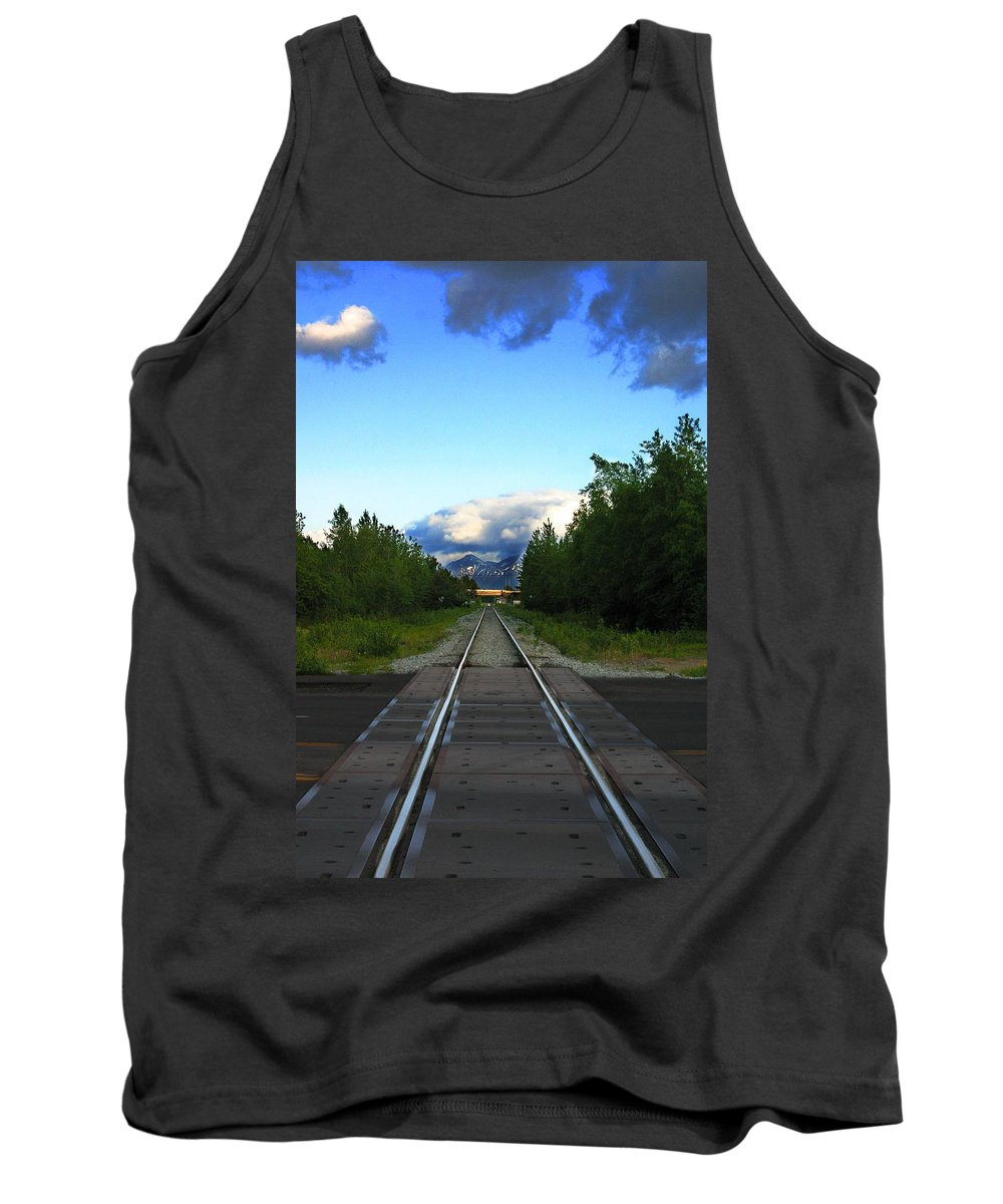Train Tank Top featuring the photograph Train Tracks Anchorage Alaska by Anthony Jones