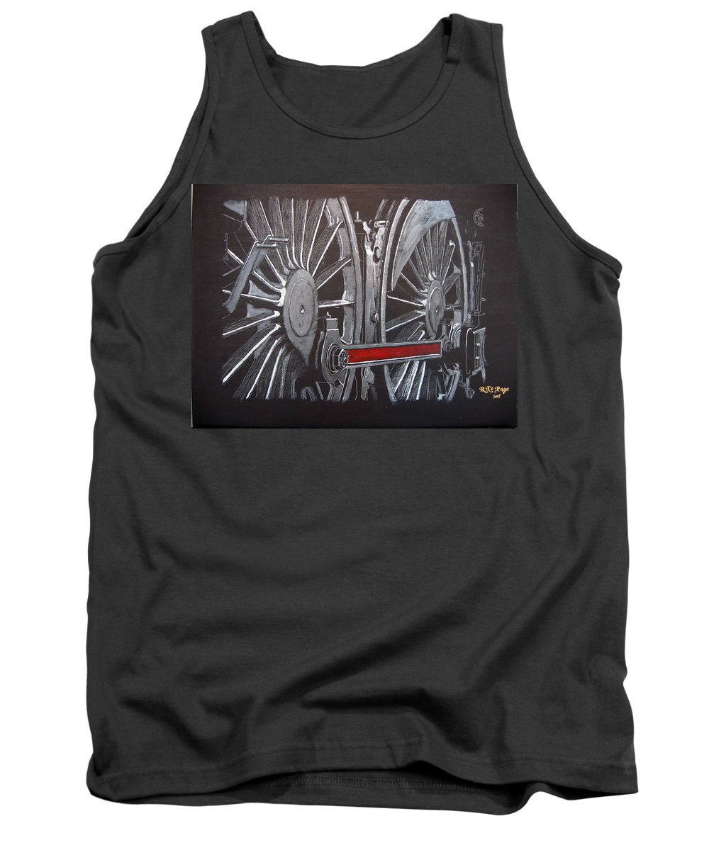 Trains Tank Top featuring the painting Train Wheels 1 by Richard Le Page