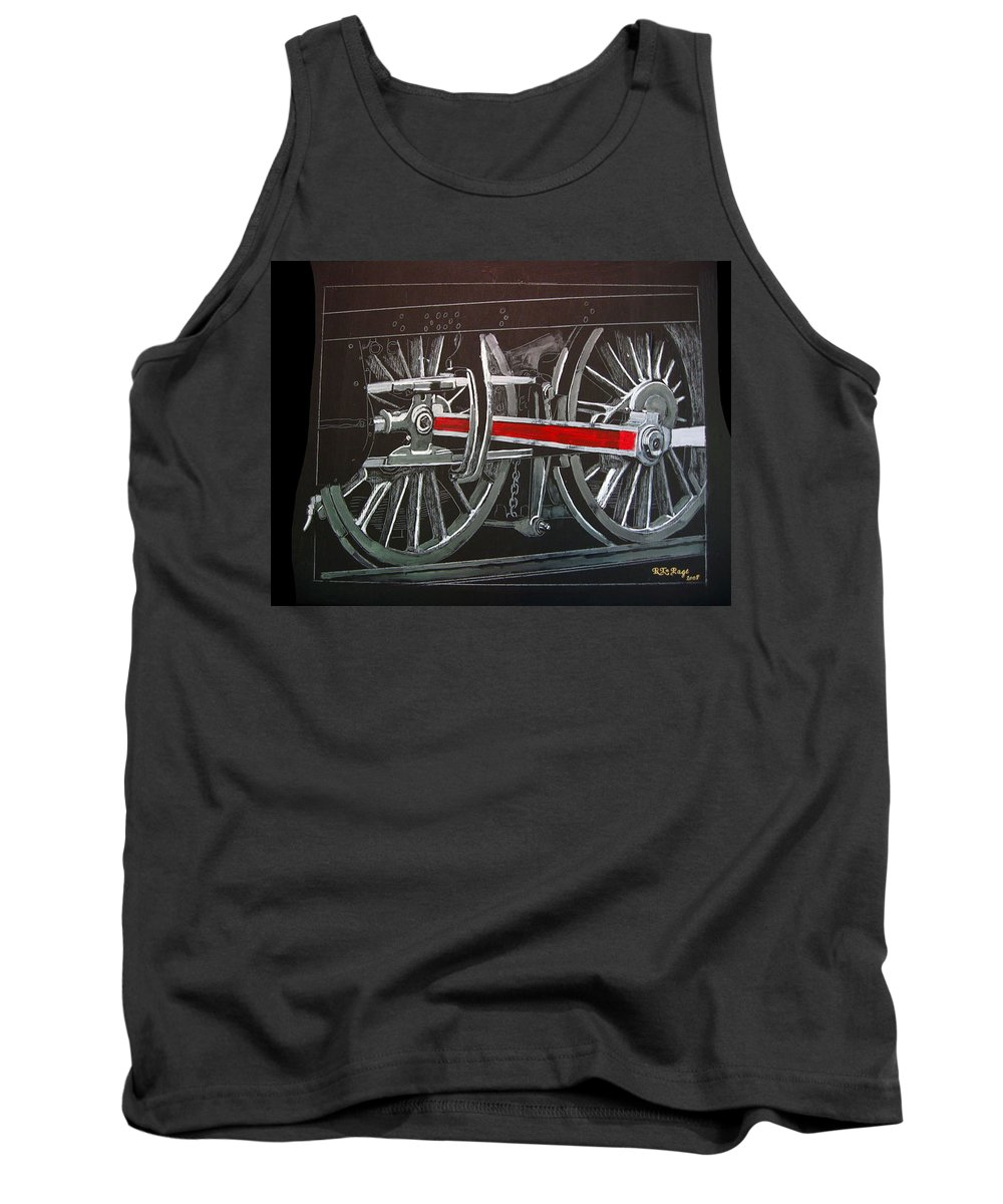 Trains Tank Top featuring the painting Train Wheels 4 by Richard Le Page