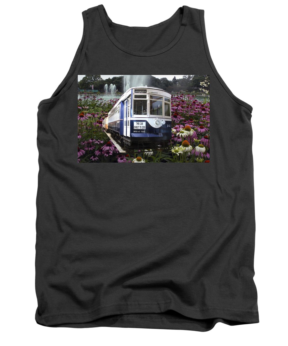 Passenger Tank Top featuring the mixed media Trains Brookfield Zoo Trolley Car 141 by Thomas Woolworth