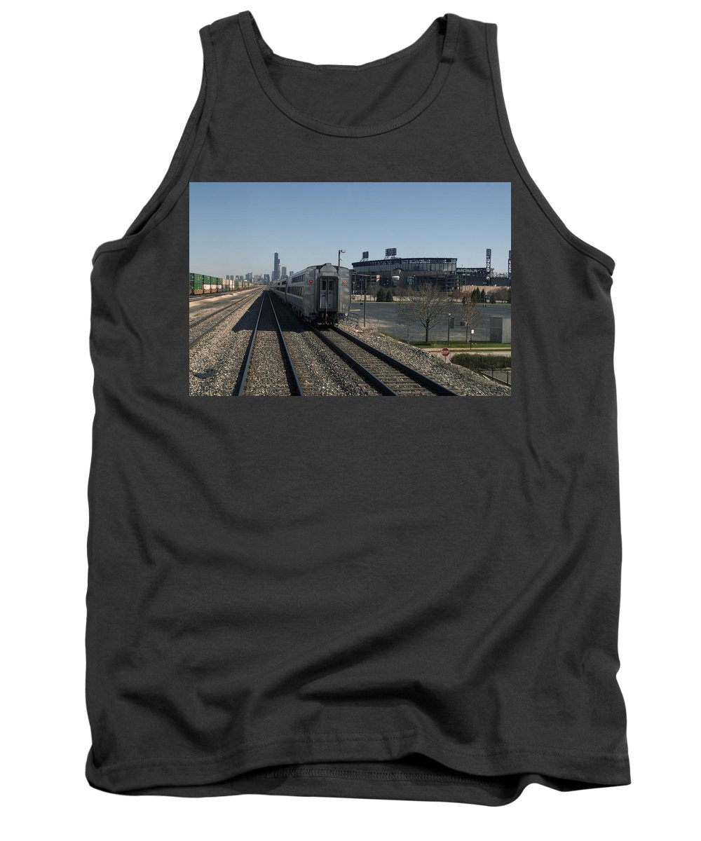 Metra Tank Top featuring the photograph Trains Passing The Home Of The Chicago White Sox by Thomas Woolworth
