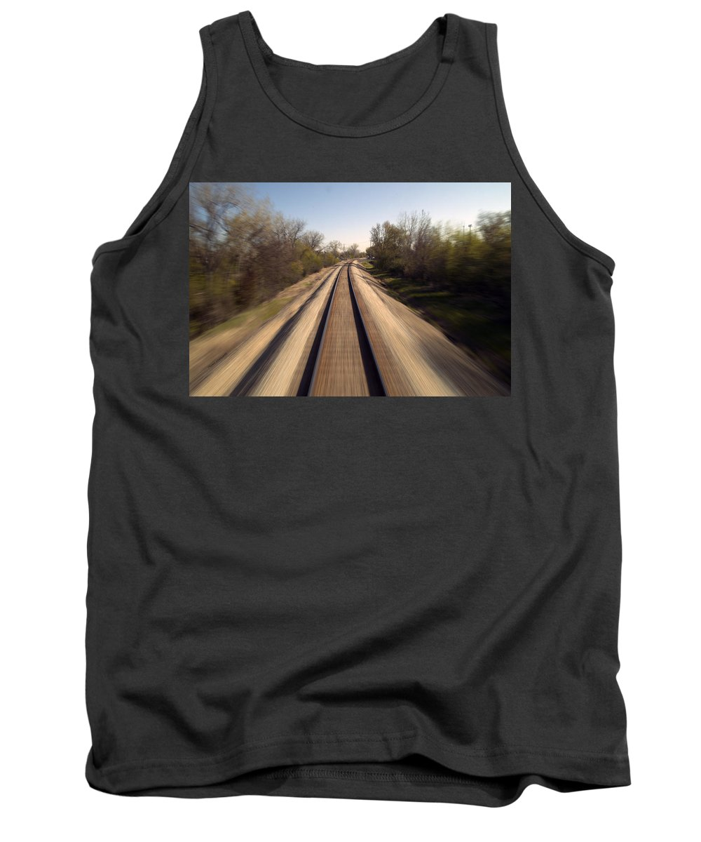 Metra Tank Top featuring the photograph Trains Power Approaching The Crossing by Thomas Woolworth