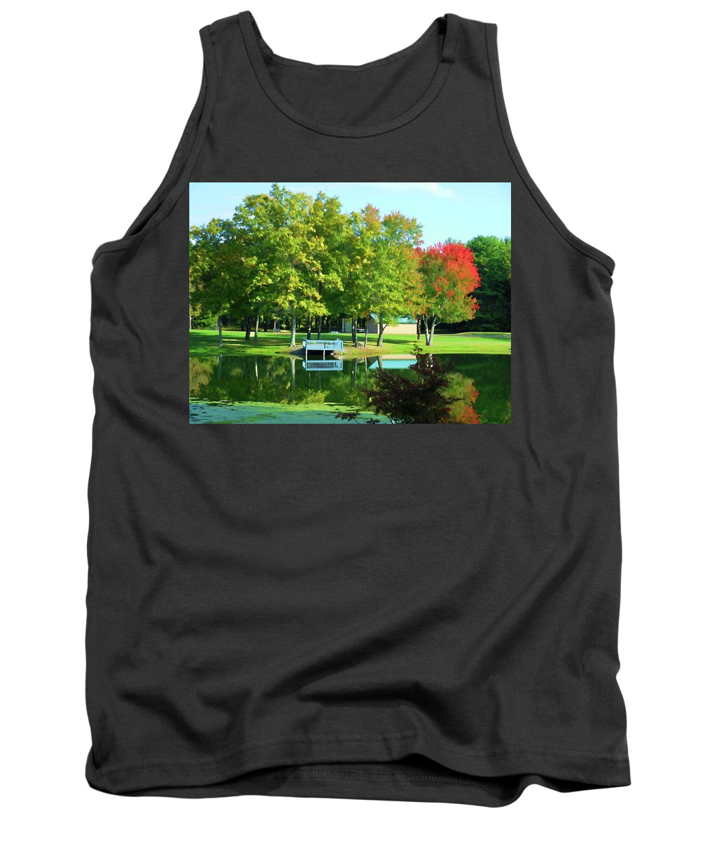 Tranquil Landscape At A Lake Tank Top featuring the painting Tranquil Landscape At A Lake 4 by Jeelan Clark