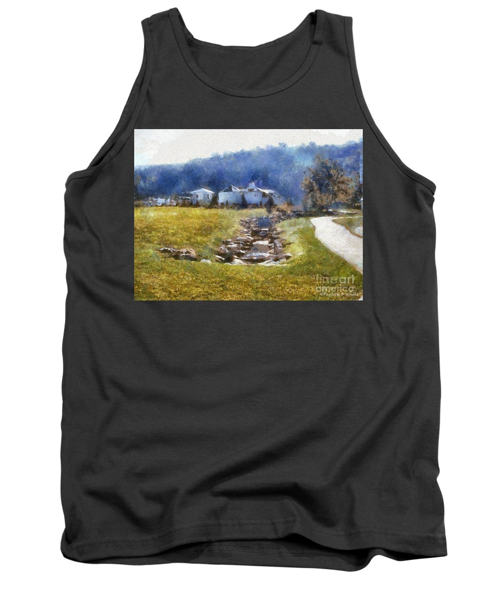 Homestead Tank Top featuring the painting Tranquil Scene by Paulette B Wright