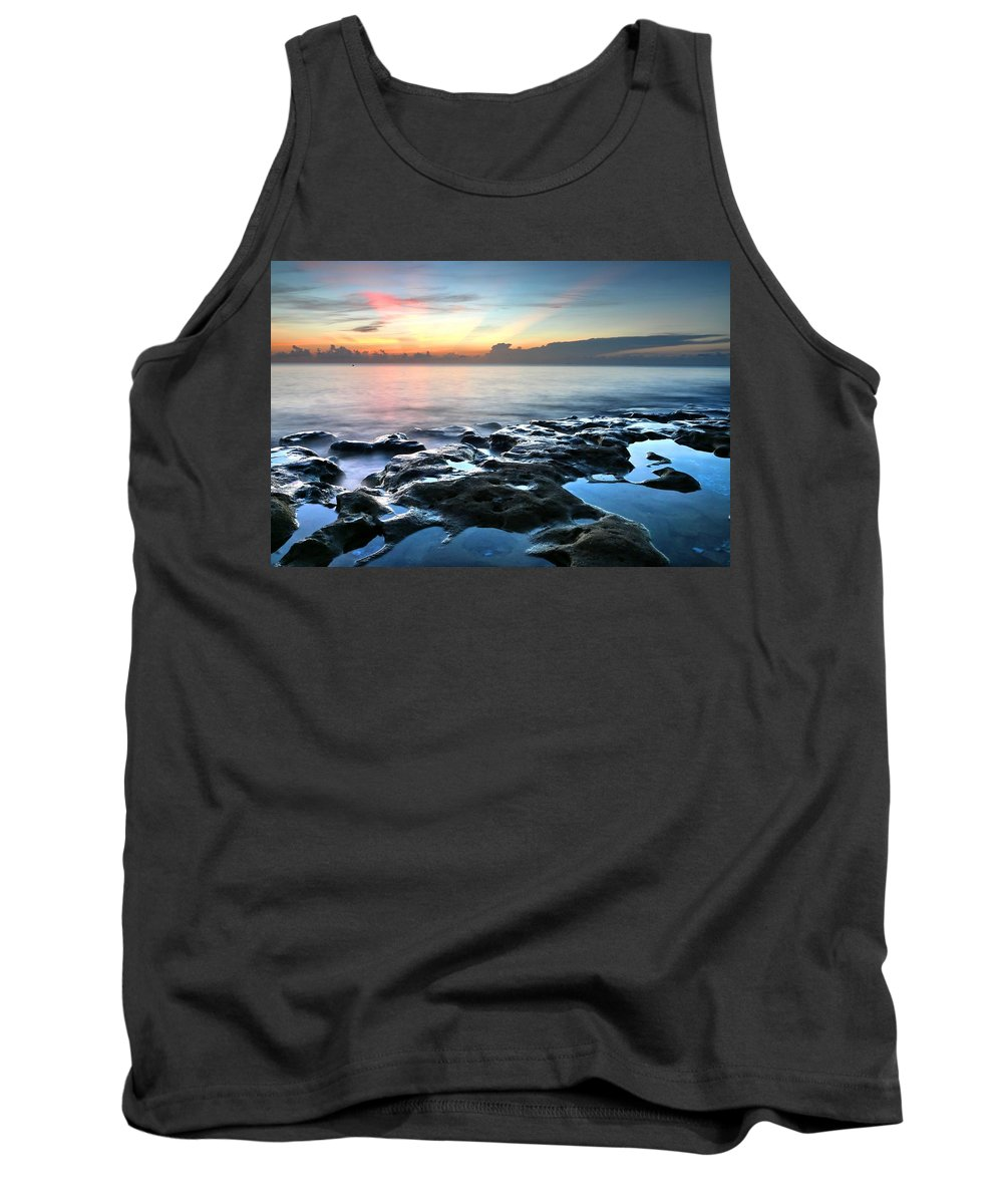 Carol R Montoya Tank Top featuring the photograph Tranquil Sunrise At Coral Cove Beach by Carol Montoya
