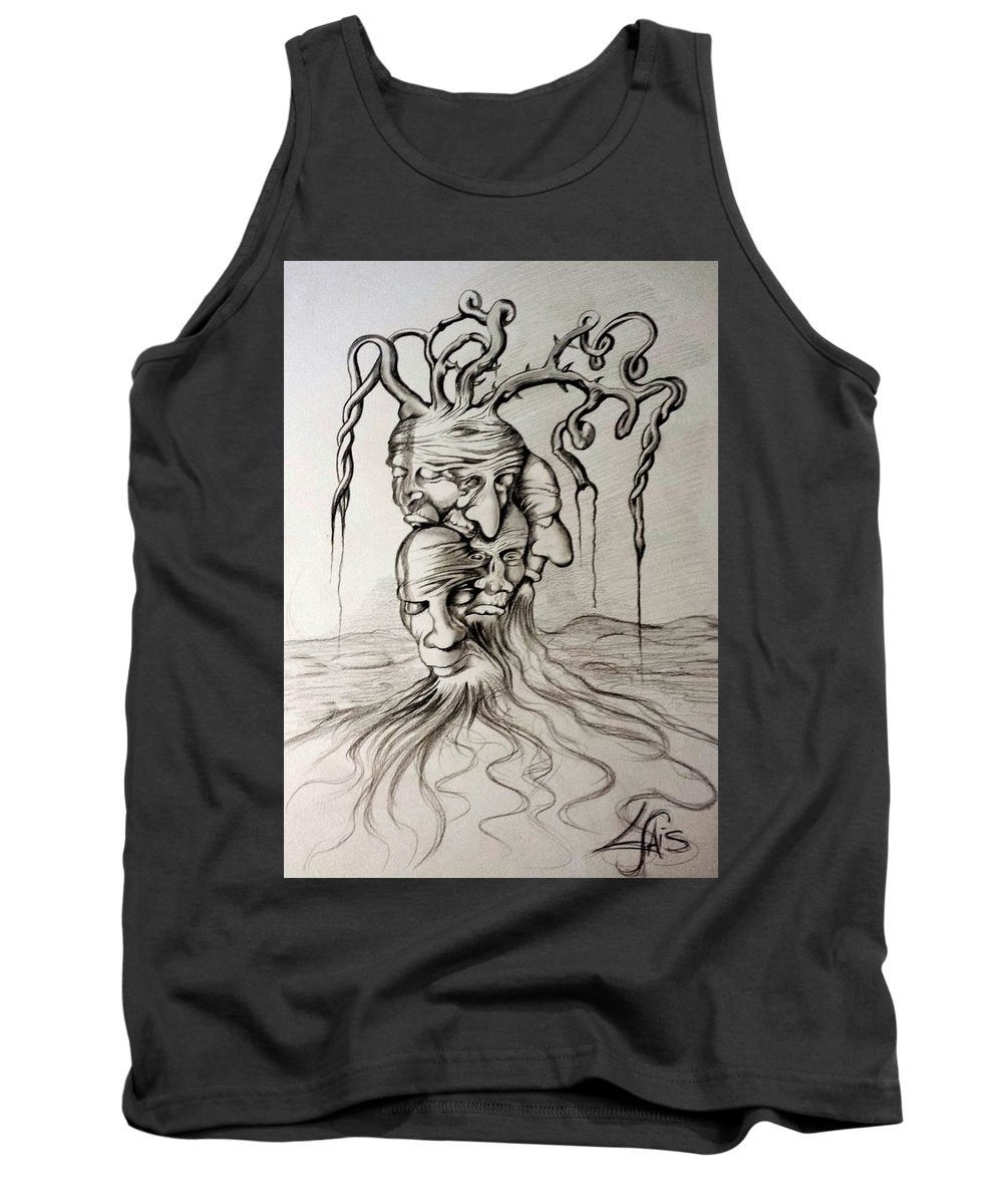 Tree Tank Top featuring the drawing Tree Of Death by Luciano Fais