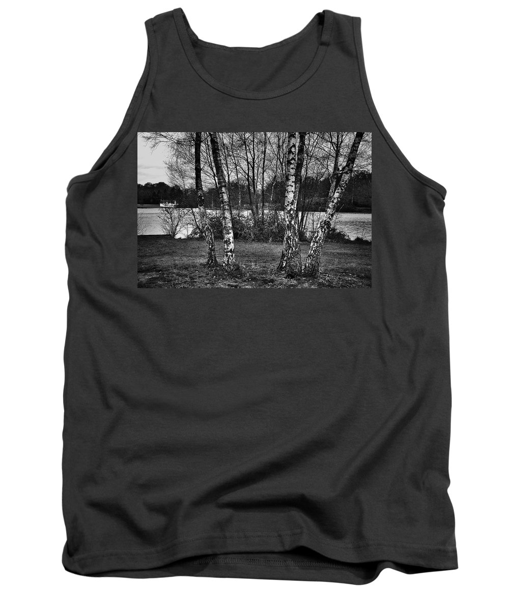 Virginia Water Tank Top featuring the photograph Tree Quartet And The Lake by David Resnikoff