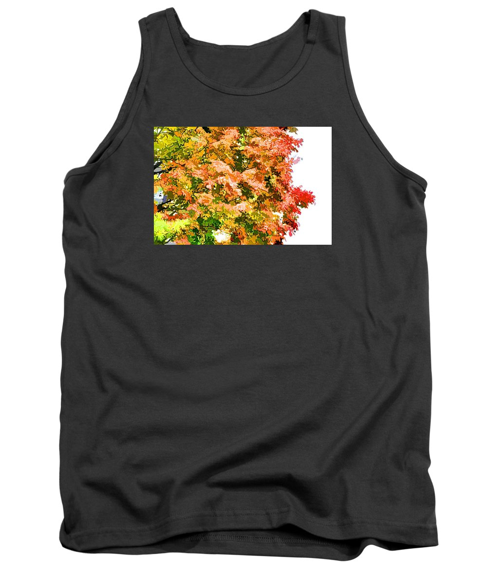 Tree With Autumn Leaves Tank Top featuring the painting Tree With Autumn Leaves by Jeelan Clark