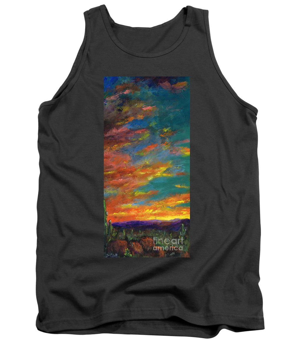 Desert Tank Top featuring the painting Triptych 1 Desert Sunset by Frances Marino