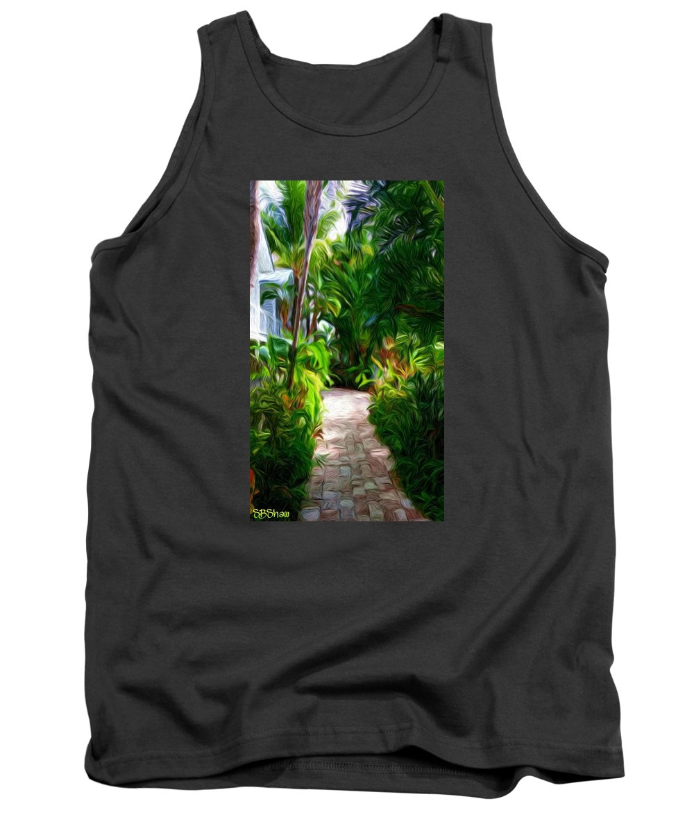 Tropical Tank Top featuring the painting Tropical Garden Passage by Susie Shaw