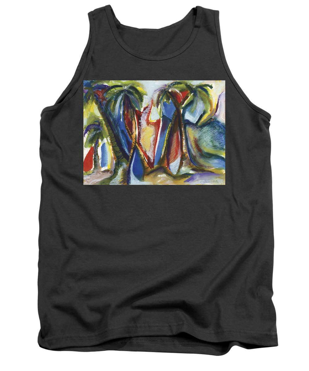 Abstract Tank Top featuring the painting Tropical Palm Rhumba by Kerryn Madsen Pietsch